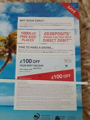 tui voucher £100 off - paper voucher use in store or online