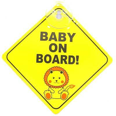 Baby On Board Car Safety Yellow In Car Signs Kids Suction Plastic Window Sign