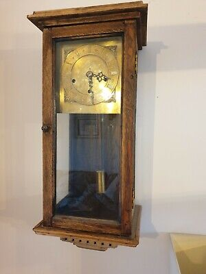 Vintage Antique 8 Day Westminster Chimer Wooden Pendulum Wall Clock with key