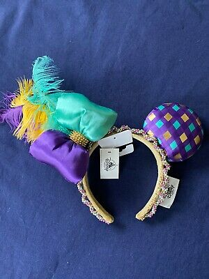 Disney Parks Minnie Mouse Ears Mardi Gras Headband Purple Teal Feathers NWT