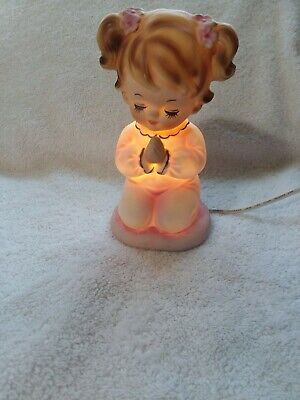 Vintage Lefton #6626 Girl Praying Electric Porcelain Night Light On/Off Switch