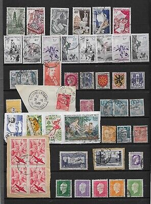 France Lot 46 Timbres Divers Obliteres Series Sports Perfores Bloc Pa  A Voir