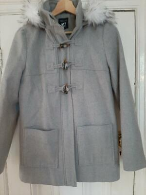 NEW LOOK 915 Generation Grey Wool Look Removable Fur Trim Hooded Coat 12-13 Yrs