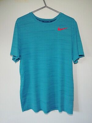 Nike Pro Training Dri Fit Men's Teal Gym Running Top Size LARGE