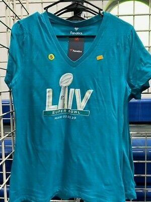 Super Bowl LIV T Shirt New 54 Miami Official Licensed Miami Ladies V Aqua Medium