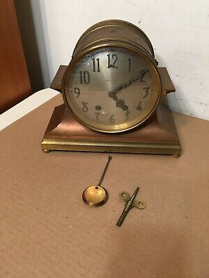 "Antique Seth Thomas Brass & Copper Ships Clock Style Mantle Clock 6"" Dial"
