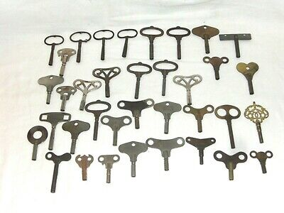A Joblot Of 36 Clock Keys, Various Sizes, Clockmaker, Repairer  Spares/Repairs