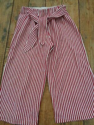 Zara Girls Red & White Striped Wide Leg Trousers age 7 - 122cm