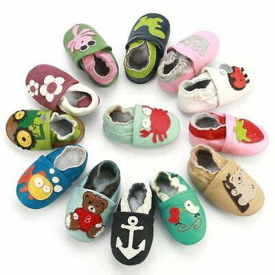 Skid Proof Baby Shoes Soft Genuine Leather For Baby Boys Girls Infant Slippers