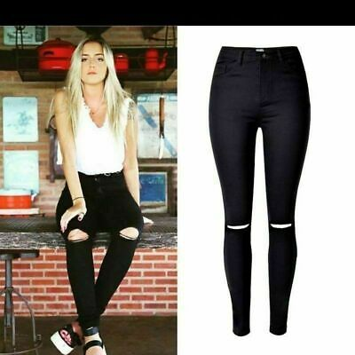 NEW WOMENS RIPPED JEANS KNEE CUT JEGGINGS SKINNY FIT STRETCHY LADIES DENIM 6-18
