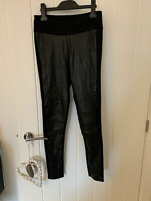River Island Size 10 Legging With Leather Look Panels