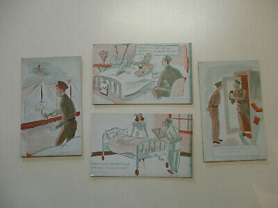 4 World War II Comic Postcard WWII 1940's UNUSED