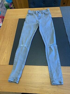Boys' NEXT super skinny jeans, grey denim with 'rip', UK 12 years, Used VGC