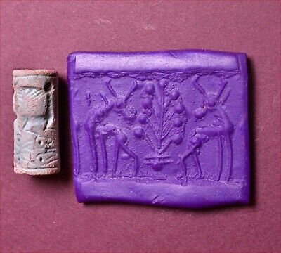 Mittanian faience cylinder seal. 1400-1200 B.C.
