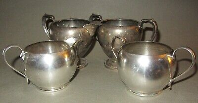 (4) sterling silver sugar creamer cups - Fisher, Gorham - tarnished, small dings