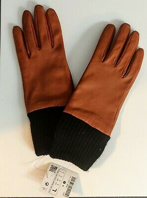 ZARA Women's Real Sheep Leather Gloves in Size L with tags