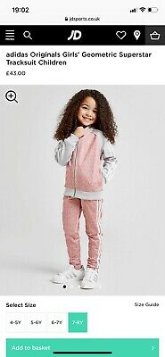 Girls Adidas Originals Geometric Superstar Tracksuit Children 7-8 Years