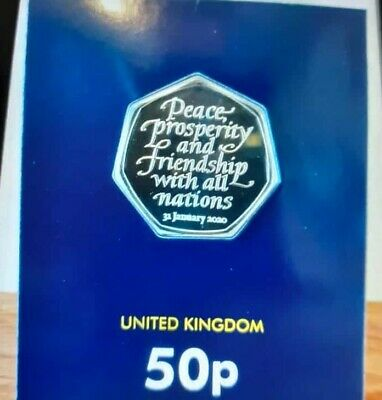 2020 UK BREXIT 50P Coin..  UNCIRCULATED COIN.. IN BLUE PROTECTED COVER