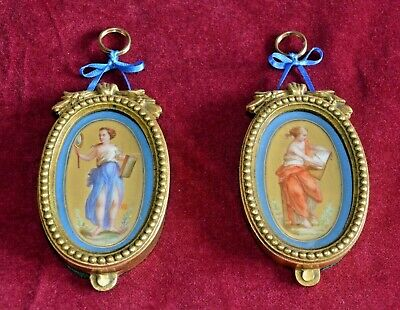 Antique Victorian Hand Painted Sevres Style Panels in Gilt Ormolu Frames Pair of
