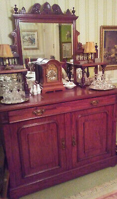 VERY FINE MAHOGANY BUFFET w CARVED DETAILING & CUT GLASS MIRRORS 1900-1910.