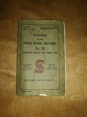 Singer sewing machines no 28 instructions book good condition for age