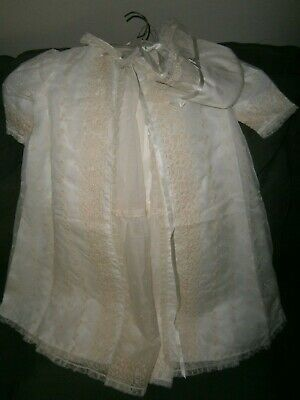 Antique Vintage 4 Piece Ivory White Baby Christening Gown Lace Baptism Dress Set