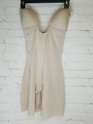 NWT SPANX Suit Your Fancy Plunge Low-Back Mid-Thigh Bodysuit 10157R nude LARGE