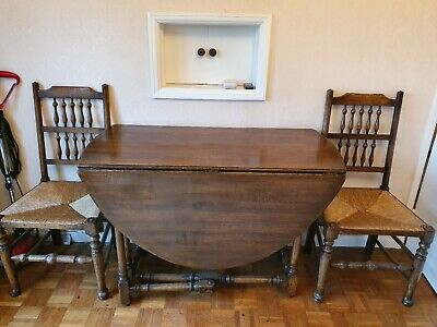 Antique Drop leaf oak Dining Table & 4 Chairs Arts Crafts style William Morris