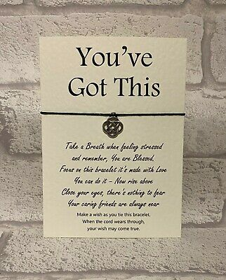 You've Got This . Anxiety Worry Wish Bracelet Card String Yoga Charm Friendship
