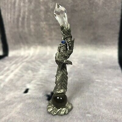 """Pewter Wizard W/ Crystals 1992 Vtg Small 2.5"""" Tall (H18)"""