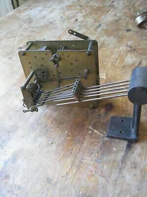 Striking Clock Mechanical Movement Complete & with Gongs... for spares or Repair