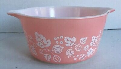 Vintage Pyrex Pink Gooseberry Casserole Bowl Dish 473 1 QT no Lid Made in USA