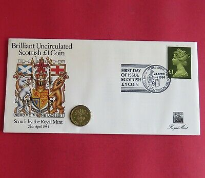 1984 SCOTTISH DESIGN UNCIRCULATED £1 - royal mint coin cover