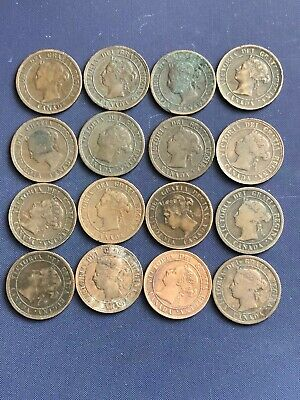 Old Canada Large Cents Lot *16 Coins *1881 - 1901