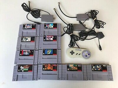 Super Nintendo SNES Video Game 10 Lot With RF Adapters Mario Congo Capers More