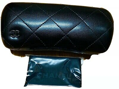 Black Quilted Style CHANEL Hard Shell Glasses Case