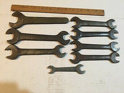 Nice Assortment of 8 Antique & Vintage Made in the USA Open End Wrenches.