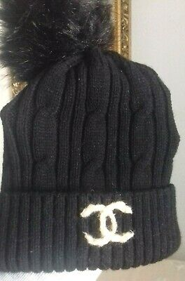 black beanie pom pom hat hand cable knit logo french style fashion NEW unique