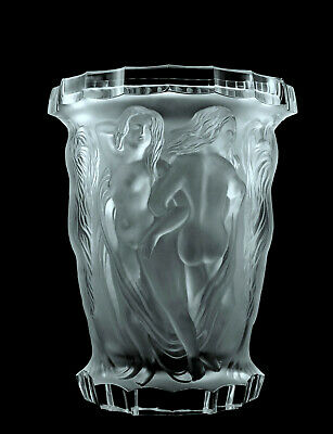 Glamorous French Art Deco Bohemian Glass Bacchantes Nude Figural Large Vase