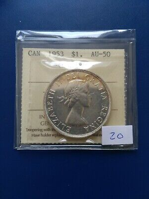 1953 NSF Canadian Silver Dollar ($1), ICCS Graded AU-50, No Reserve!