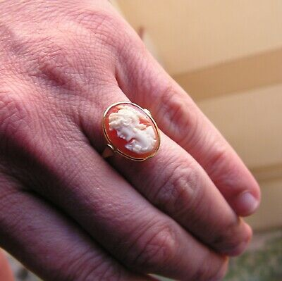 Victorian Arts & Crafts Ring Antique Italy Cameo Shell  Gold Ring Size 7