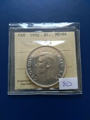 1952 WL Canadian Silver Dollar ($1), ICCS Graded MS-64, No Reserve!
