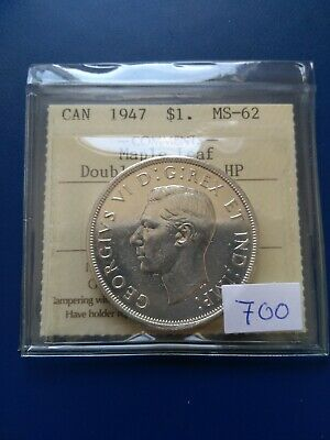 1947ML Double HP Canadian Silver Dollar ($1), ICCS Graded MS-62, No Reserve!