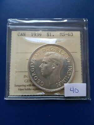 1939 Canadian Silver Dollar ($1), ICCS Graded MS-63, No Reserve!
