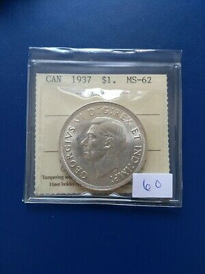 1937 Canadian Silver Dollar ($1), ICCS Graded MS-62, No Reserve!