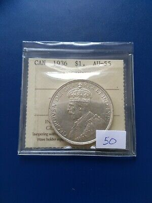 1936 Canadian Silver Dollar ($1), ICCS Graded AU-55, No Reserve!