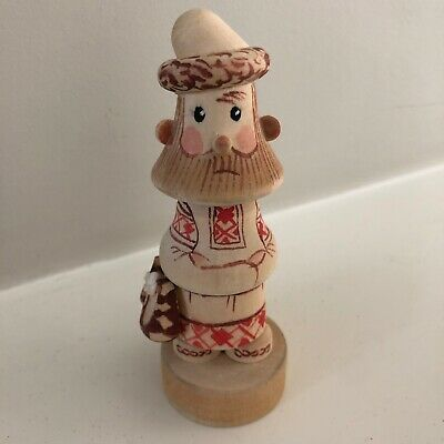 Russian Wooden Hand Carved Man Figurine | Hand Painted