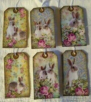 Primitive Hand Crafted Stringed Hang Tags Bowl Fillers Easter Bunnies Rabbits 6
