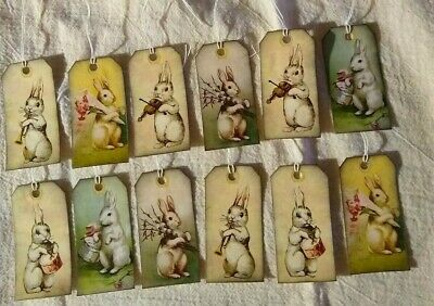 Primitive Hand Crafted Stringed Hang Tags Bowl Fillers Easter Bunnies Rabbits 12
