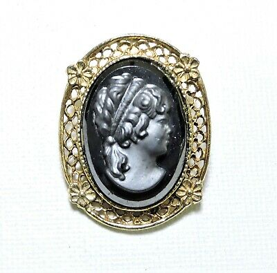 Vintage Mourning Cameo Brooch Pin FE20838